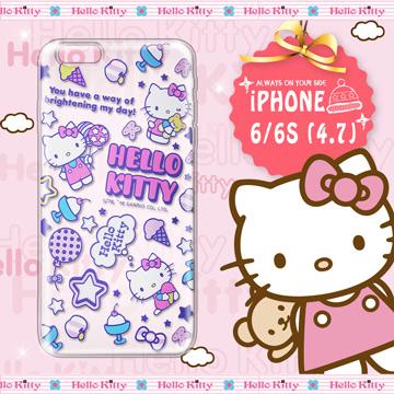 三麗鷗SANRIO正版授權 Hello Kitty iPhone 6/6S 4.7吋 凱蒂樂園系列 透明軟式手機殼(繽紛凱蒂)