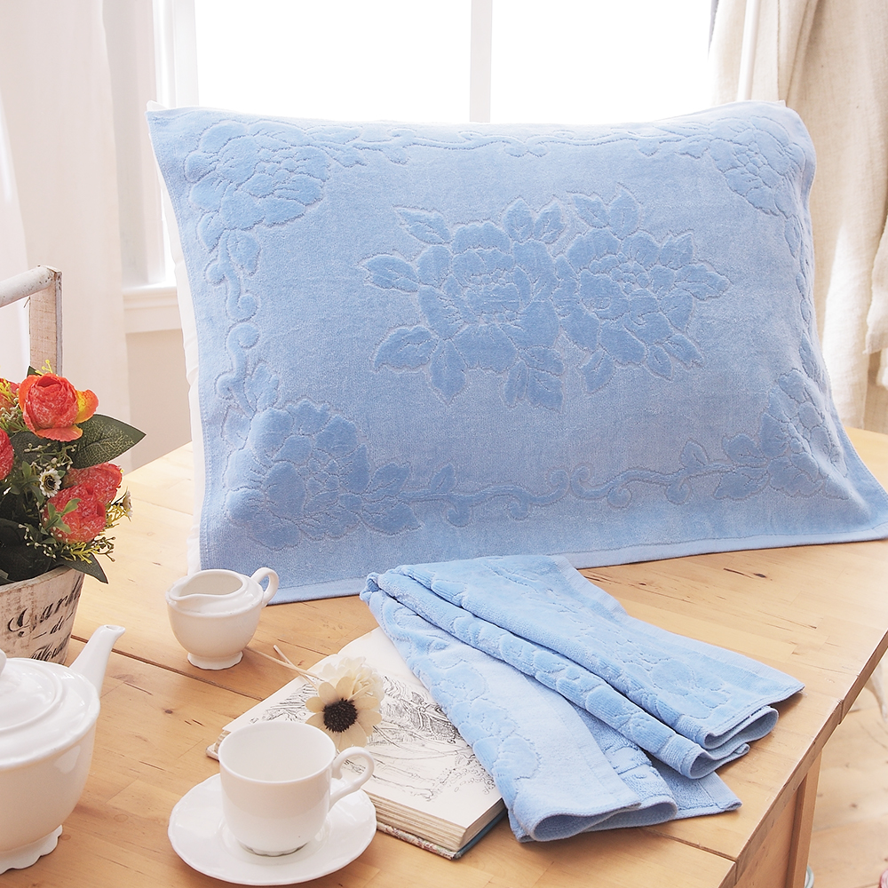HO KANG 繽紛純棉枕巾~淺藍 2入