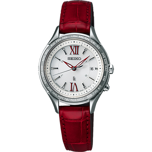 SEIKO LUKIA 夢想羅馬太陽能電波腕錶-銀x紅/ 28mm 1B25-0AH0R(SSVV013J)