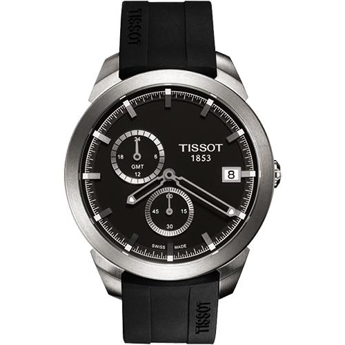 TISSOT Titanium GMT 時尚鈦金屬二地時區腕錶-黑/43mm T0694394706100