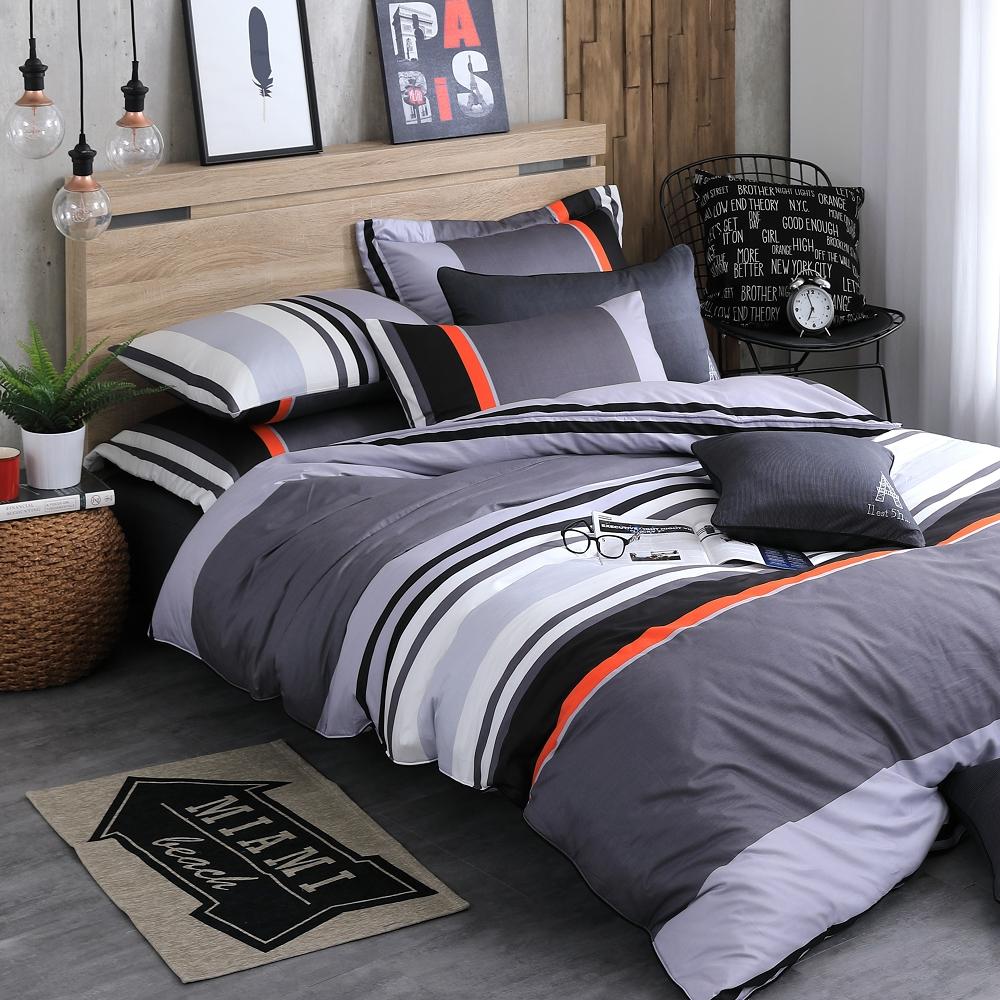 OLIVIA 《 夏洛特 灰 》 特大雙人床包枕套三件組 【OL305床包】