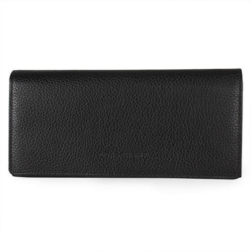 Longchamp 經典壓印Logo皮革釦式長夾 黑色