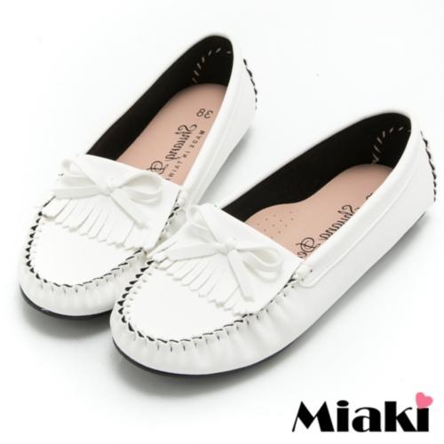 【Miaki】MIT 樂福鞋經典熱賣平底懶人包鞋 (白色)