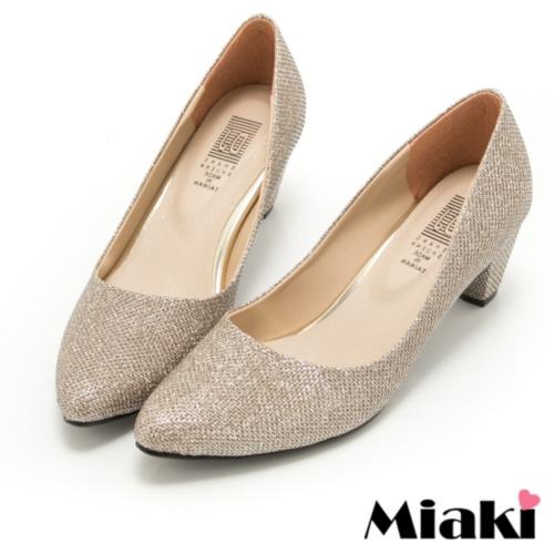 【Miaki】MIT 高跟鞋韓版設計閃耀粗跟包鞋 (香檳色)