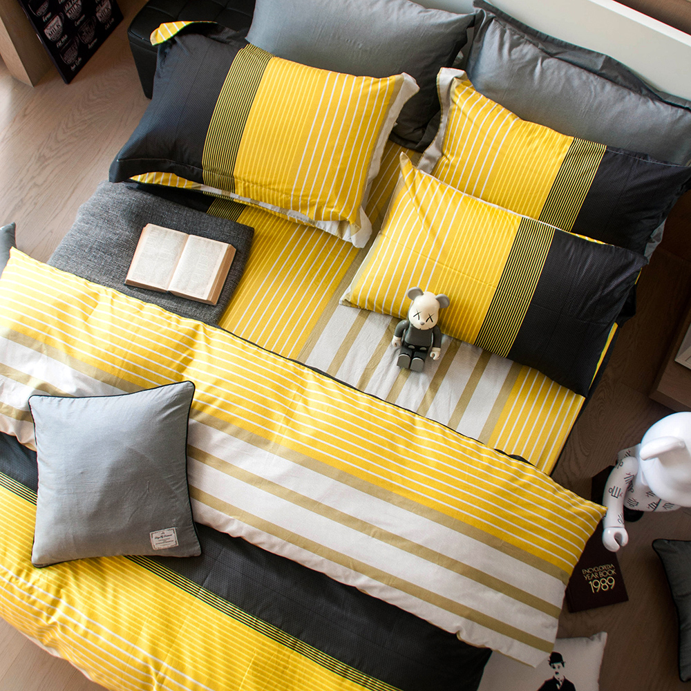 OLIVIA 《 諾爾曼 黃 》 特大雙人床包枕套三件組