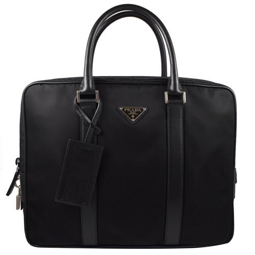 PRADA 經典LOGO尼龍帆布皮飾邊附鎖組手提包.黑