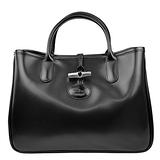 Longchamp Roseau系列經典皮革手提托特包 黑色