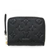 Louis Vuitton LV M60574 經典花紋全皮革壓紋信用卡零錢包.黑 預購