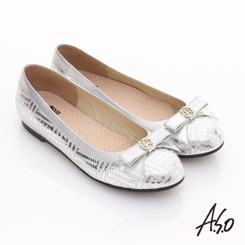 【A.S.O】奢華美型 真皮金屬圖騰結飾平底鞋(銀)