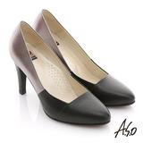 【A.S.O】減壓美型 全真皮拼接壓紋窩心高跟鞋(黑)