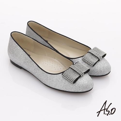 【A.S.O】奢華美型 全真皮蝴蝶結金蔥平底鞋(銀)
