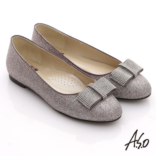 【A.S.O】奢華美型 全真皮蝴蝶結金蔥平底鞋(銀紫)