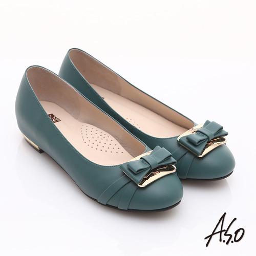 【A.S.O】輕透美型 真皮金屬結飾內增高平底鞋(藍)