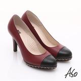 【A.S.O】優雅時尚 珠光真皮雙色鍊帶高跟鞋(紅)