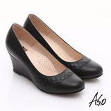 【A.S.O】優雅時尚 真皮菱格壓紋金屬片楔型鞋(黑)