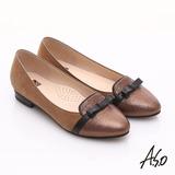 【A.S.O】減壓美型 全真皮絨面金箔低跟鞋(古銅)