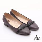 【A.S.O】減壓美型 全真皮絨面金箔低跟鞋(灰)