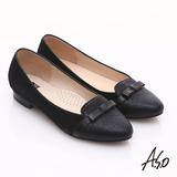 【A.S.O】減壓美型 全真皮絨面金箔低跟鞋(黑)