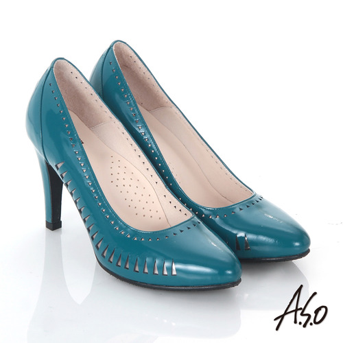 【A.S.O】輕透美型 鏡面真皮側鏤空高跟鞋(藍)