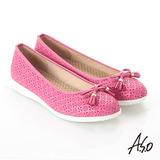 【A.S.O】輕量休閒 全真皮壓紋蝴蝶結飾休閒鞋(桃粉紅)