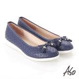 【A.S.O】輕量休閒 全真皮壓紋蝴蝶結飾休閒鞋(藍)
