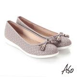【A.S.O】輕量休閒 全真皮壓紋蝴蝶結飾休閒鞋(灰)
