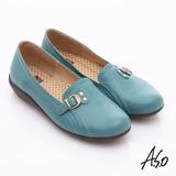 【A.S.O】舒適通勤 全真皮金屬飾扣奈米休閒鞋(淺藍)
