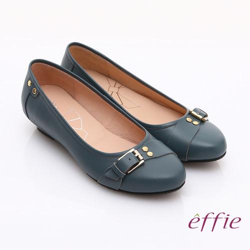 【effie】輕透美型 牛皮皮飾條帶楔型低跟鞋(藍)