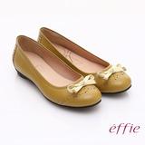 【effie】俏麗悠活 全真皮織帶蝴蝶結飾平底鞋(黃)