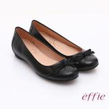 【effie】俏麗悠活 全真皮織帶蝴蝶結飾平底鞋(黑)