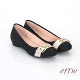 【effie】都會休閒 全真皮金屬皮帶飾扣低跟鞋(黑)
