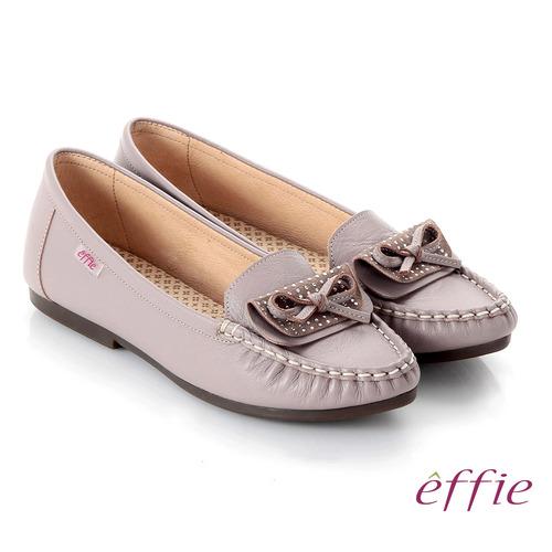 【effie】手工縫線 牛皮細帶蝴蝶奈米平底休閒鞋(藕粉)