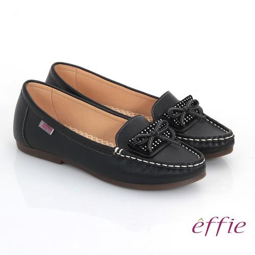 【effie】手工縫線 牛皮細帶蝴蝶奈米平底休閒鞋(黑)
