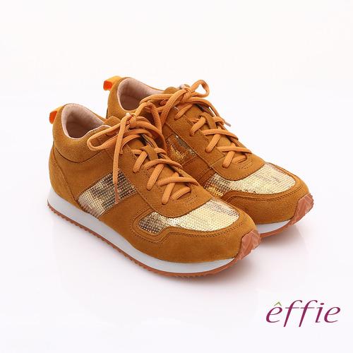 【effie】心機美型 絨面真皮亮片綁帶奈米休閒鞋(土黃)