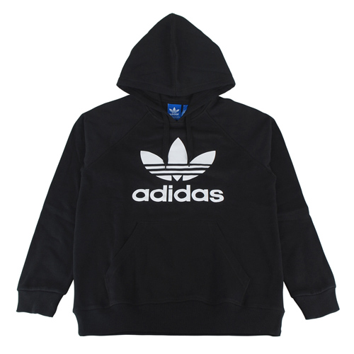 adidas 三葉草經典標誌長袖帽T(男/黑+白)