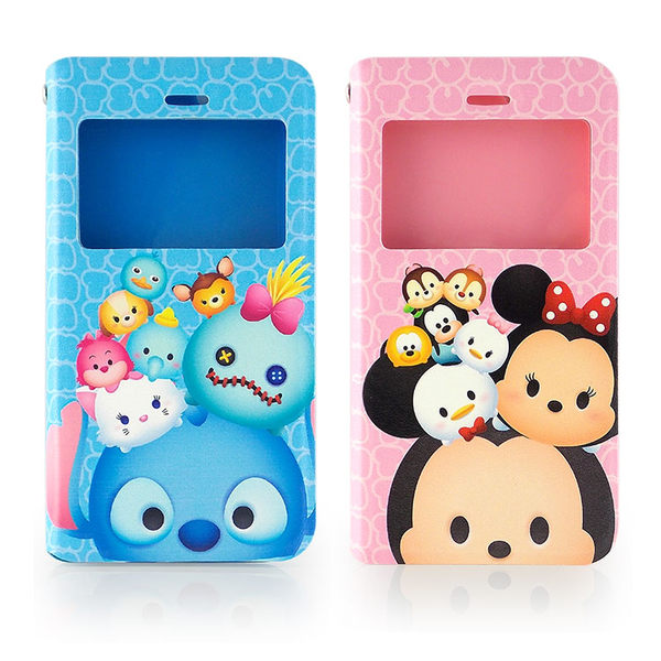 Disney iPhone 6 6s TSUM TSUM 透視視窗彩繪可立式皮套