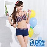 【夏之戀TRAVEL FAX】海軍風比基尼三件式泳衣(C15701)