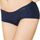 【思薇爾】輕Q彈系列M-XL蕾絲中低腰平口褲(沉靜藍)