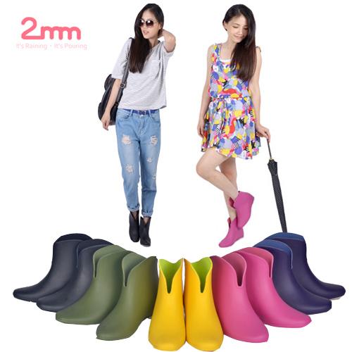 【2mm】玩色系V型時尚內增高輕量短筒雨靴/ 雨鞋(5色任選)