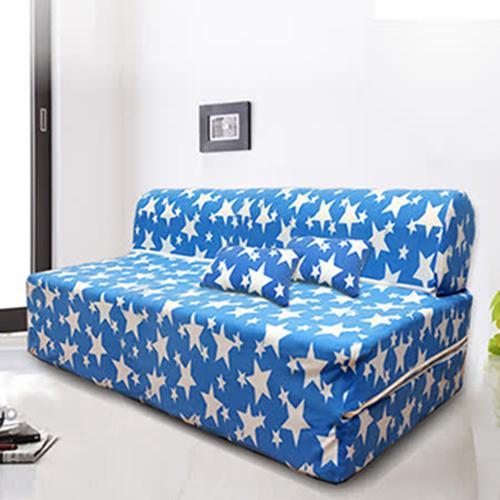 KOTAS 珊瑚絨彈簧雙人沙發床 送珊瑚絨抱枕X2 (水藍色、桃紅色)