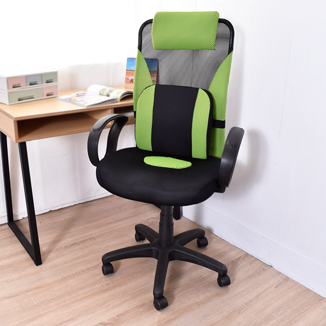 【凱堡】 高背PU大腰枕3D呼吸坐墊 透氣工學椅電腦椅/辦公椅