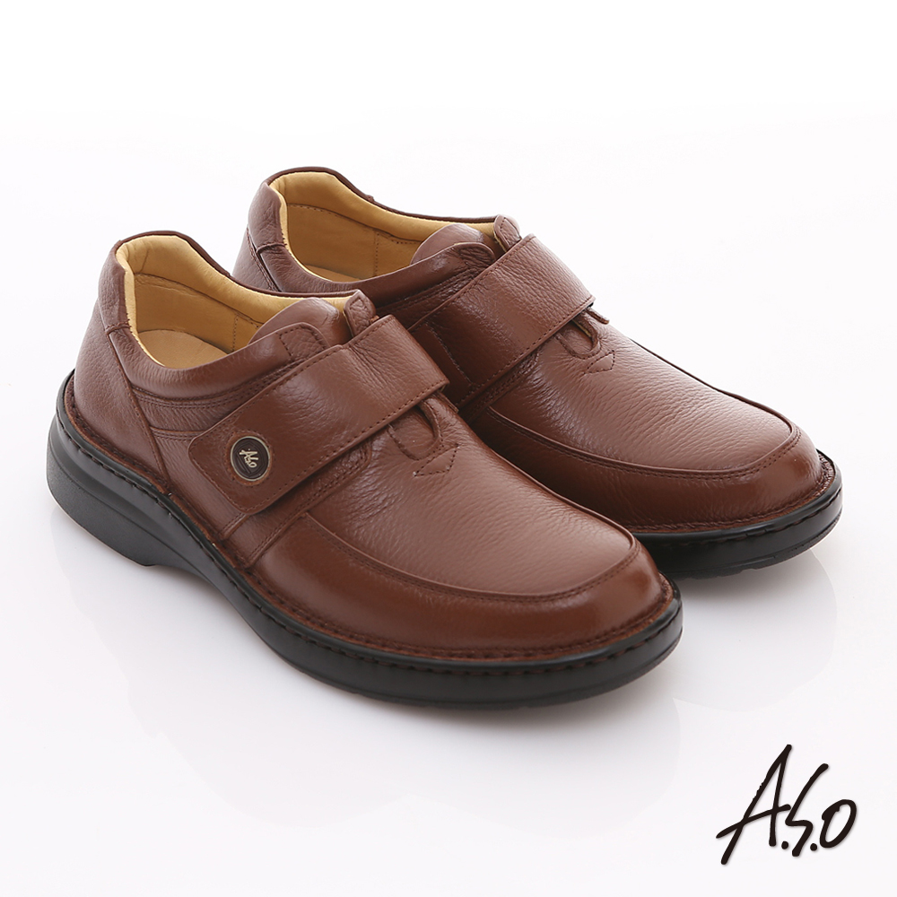 【A.S.O】3E氣墊系列 全真皮寬楦素面魔鬼氈氣墊鞋(咖啡)