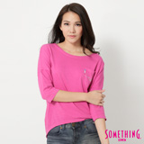 SOMETHING 寬版七分袖T恤-女-桃紅色