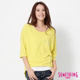 SOMETHING 寬版七分袖T恤-女-黃色