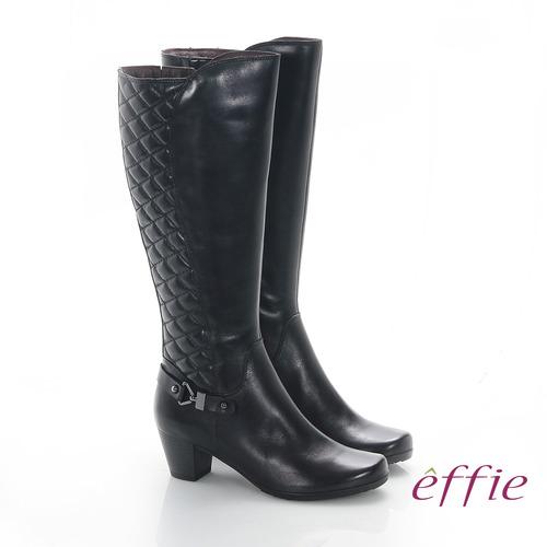 【effie】魅力時尚 真皮後側拼接菱格中跟長靴(黑)