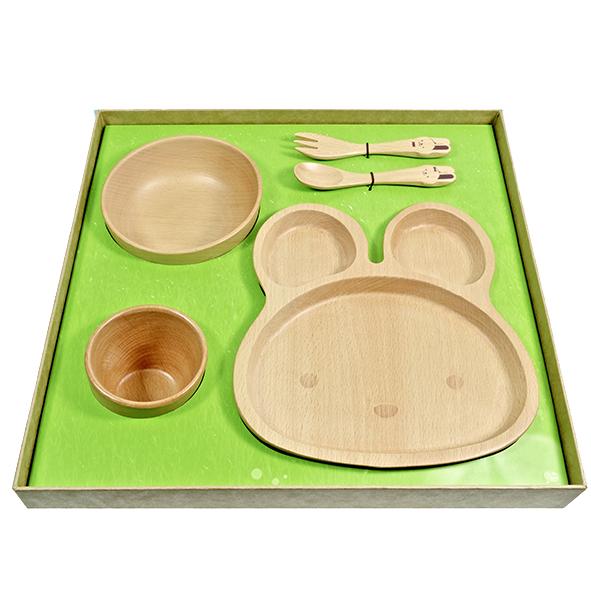 SADOMAIN仙德曼 山毛櫸兒童餐具禮盒-兔兔