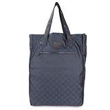 GUCCI 輕巧簡單LOGO尼龍購物袋(深藍)