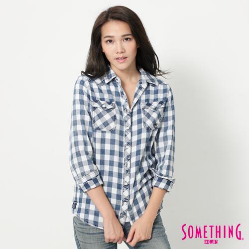 SOMETHING 格紋長袖襯衫-女-藍色