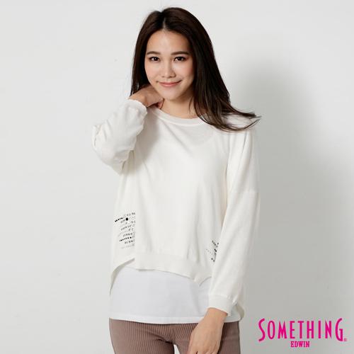 SOMETHING 特殊剪裁寬版線衫-女-白色