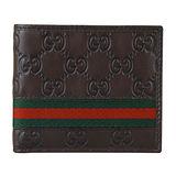GUCCI Guccissima皮革壓紋綠紅綠織帶系列短夾*6卡(咖啡)